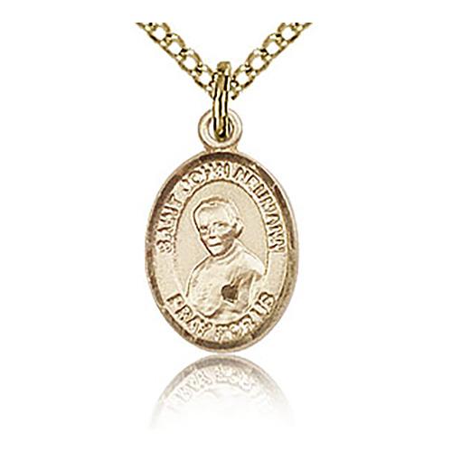 Gold Filled 1/2in St John Neumann Charm & 18in Chain