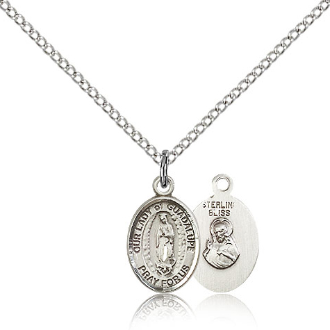 Sterling Silver 1/2in Our Lady of Guadalupe Charm & 18in Chain