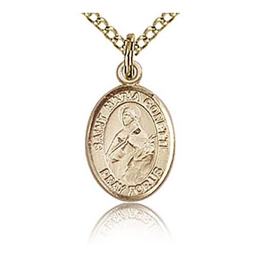 Gold Filled 1/2in St Maria Goretti Charm & 18in Chain