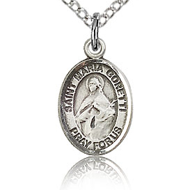 Sterling Silver 1/2in St Maria Goretti Charm & 18in Chain
