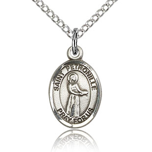 Sterling Silver 1/2in St Petronille Charm & 18in Chain