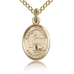 Gold Filled 1/2in St Germaine Cousin Charm & 18in Chain