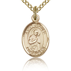 Gold Filled 1/2in St Isaac Charm & 18in Chain