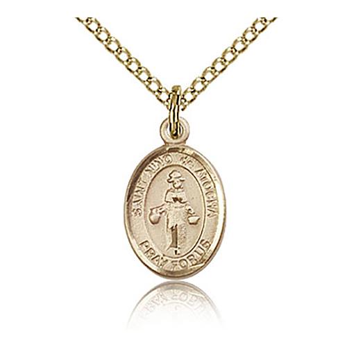 Gold Filled 1/2in St Nino de Atocha Charm & 18in Chain