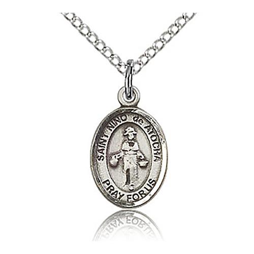 Sterling Silver 1/2in St Nino de Atocha Charm & 18in Chain