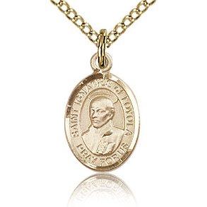 Gold Filled 1/2in St Ignatius Charm & 18in Chain