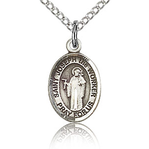 Sterling Silver 1/2in St Joseph the Worker Charm & 18in Chain