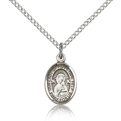 Sterling Silver 1/2in Lady of Perpetual Help Charm & 18in Chain