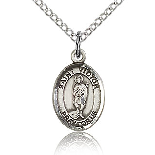 Sterling Silver 1/2in St Victor Charm & 18in Chain