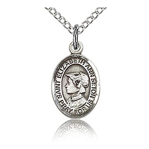 Sterling Silver 1/2in St Elizabeth Charm & 18in Chain