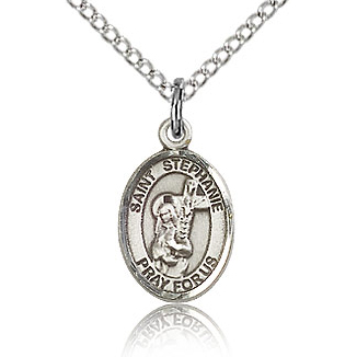 Sterling Silver 1/2in St Stephanie Charm & 18in Chain