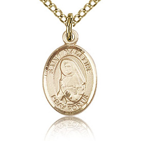 Gold Filled 1/2in St Madeline Charm & 18in Chain