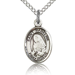 Sterling Silver 1/2in St Madeline Charm & 18in Chain
