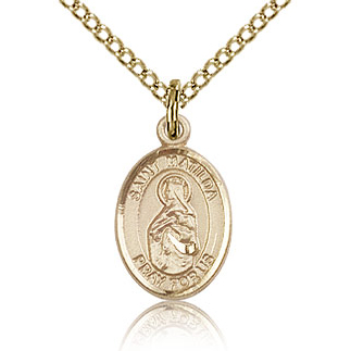 Gold Filled 1/2in St Matilda Charm & 18in Chain