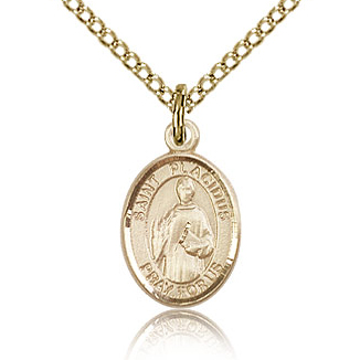 Gold Filled 1/2in St Placidus Charm & 18in Chain