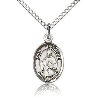 Sterling Silver 1/2in St Placidus Charm & 18in Chain