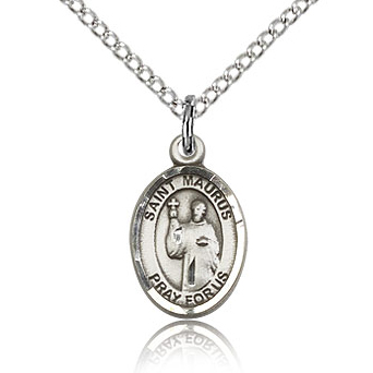 Sterling Silver 1/2in St Maurus Charm & 18in Chain