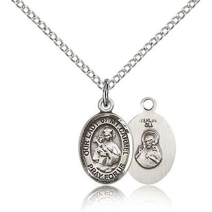 Sterling Silver 1/2in Our Lady of Mount Carmel Charm & 18in Chain