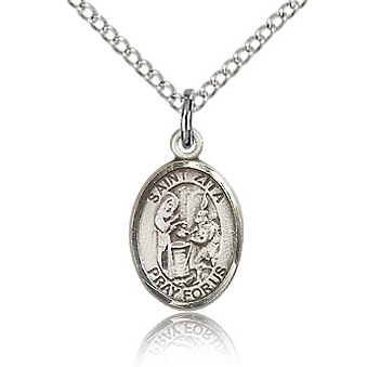 Sterling Silver 1/2in St Zita Charm & 18in Chain