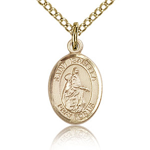 Gold Filled 1/2in St Isabella Charm & 18in Chain