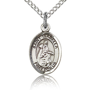 Sterling Silver 1/2in St Isabella Charm & 18in Chain