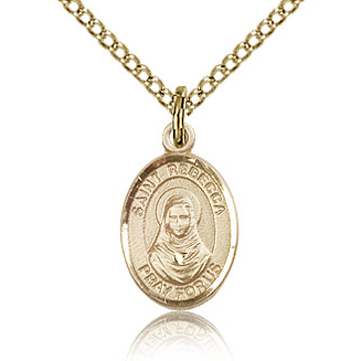 Gold Filled 1/2in St Rebecca Charm & 18in Chain