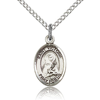 Sterling Silver 1/2in St Victoria Charm & 18in Chain