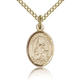 Gold Filled 1/2in St Isaiah Charm & 18in Chain