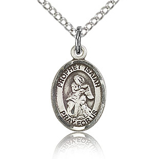 Sterling Silver 1/2in St Isaiah Charm & 18in Chain