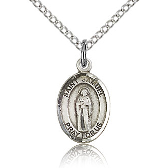 Sterling Silver 1/2in St Samuel Charm & 18in Chain