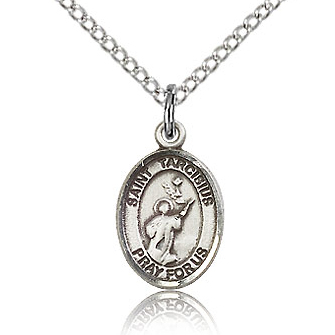 Sterling Silver 1/2in St Tarcisius Charm & 18in Chain