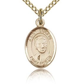 Gold Filled 1/2in St Eugene Charm & 18in Chain