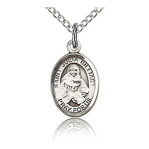 Sterling Silver 1/2in St Julia Billiart Charm & 18in Chain