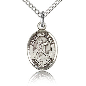 Sterling Silver 1/2in St Colette Charm & 18in Chain
