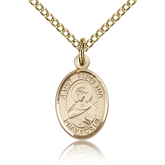 Gold Filled 1/2in St Perpetua Charm & 18in Chain