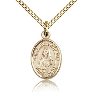 Gold Filled 1/2in St Wenceslaus Charm & 18in Chain