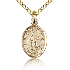 Gold Filled 1/2in St Isidore the Farmer Charm & 18in Chain