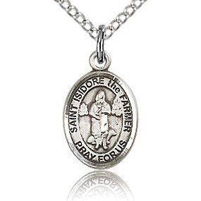 Sterling Silver 1/2in St Isidore the Farmer Charm & 18in Chain