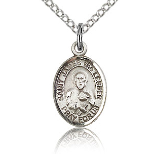 Sterling Silver 1/2in St James the Lesser Charm & 18in Chain
