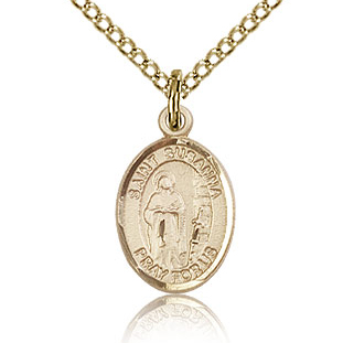 Gold Filled 1/2in St Susanna Charm & 18in Chain