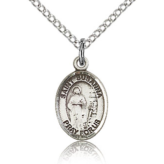 Sterling Silver 1/2in St Susanna Charm & 18in Chain