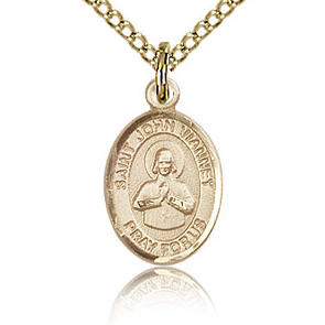 Gold Filled 1/2in St John Vianney Charm & 18in Chain