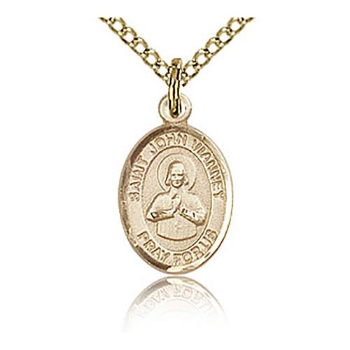 Gold Filled 1/2in St John Vianney Charm & 18in Chain