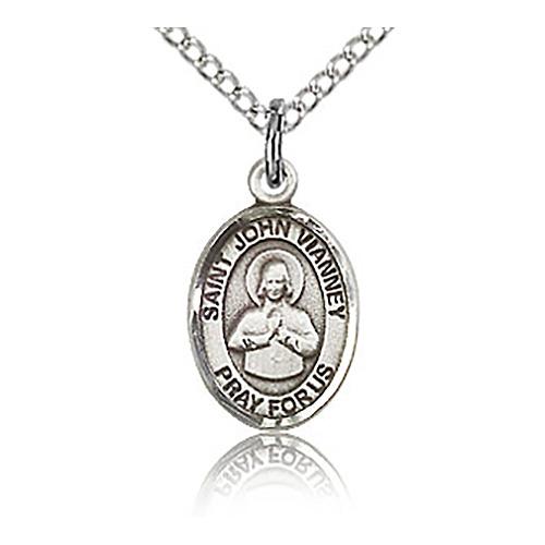 Sterling Silver 1/2in St John Vianney Charm & 18in Chain