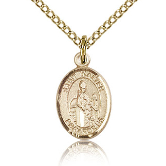 Gold Filled 1/2in St Walter Charm & 18in Chain