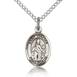 Sterling Silver 1/2in St Walter Charm & 18in Chain