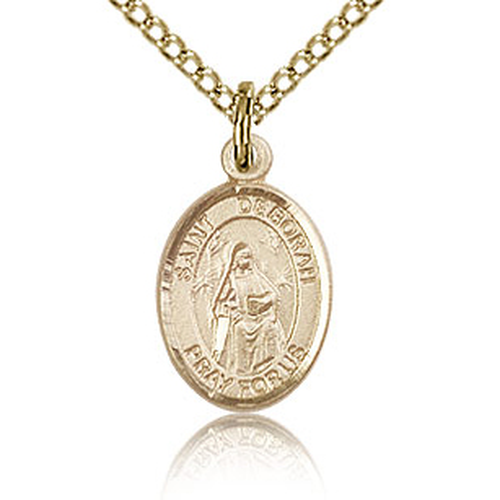 Gold Filled 1/2in St Deborah Charm & 18in Chain
