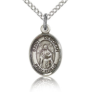 Sterling Silver 1/2in St Deborah Charm & 18in Chain