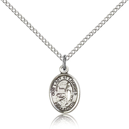 Sterling Silver 1/2in Our Lady of Lourdes Charm & 18in Chain