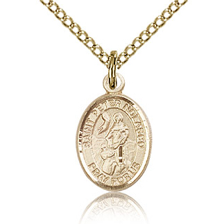Gold Filled 1/2in St Peter Nolasco Charm & 18in Chain